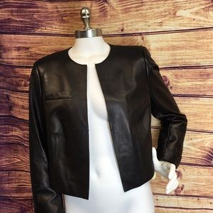 Akris Lambskin Black Leather Cropped Jacket